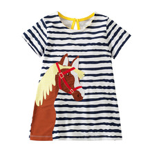 Little Maven New Summer Kids Clothing Blue Striped Short-Sleeved  Applique Horse Head O-neck Knitted 1-6yrs Cotton Girls Dresses