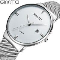 Luxury Brand GIMTO Analog Quartz Wrist Watch Men Clock Date Rose Gold Steel Business Men Watches