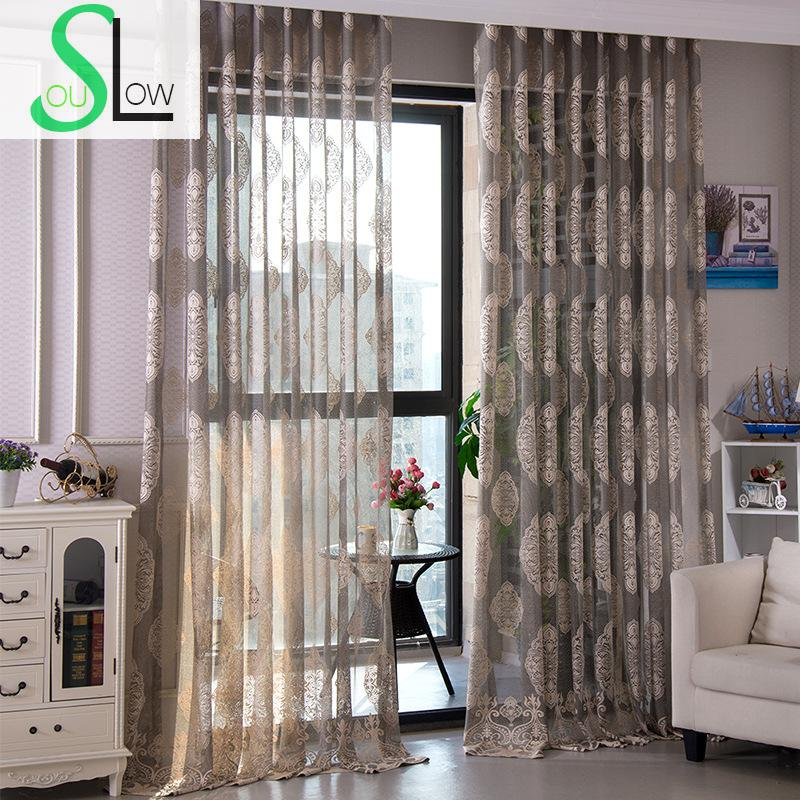 Us 1625 35 Offslow Soul Grey White Yellow Curtains Living Room Bedroom Curtain Floral Europe Cortinas Tulle For Kitchen Rideau Blinds Sheer In