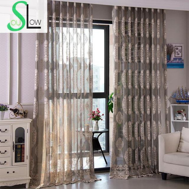 Slow Soul Grey White Yellow Curtains Living Room Bedroom Curtain Floral  Europe Cortinas Tulle For Kitchen
