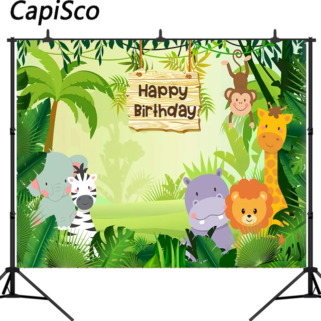 Capisco Jungle Safari Photo Background Animals Forest Photography Backdrop Baby Happy Birthday Party Theme Banner Decoration