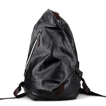 88b9db58dc66 Мужской школьный рюкзак из искусственной кожи, синий, 2019, мужской рюкзак,  чехол-сумка для ноутбука, водонепроницаемый, Soild, модный, черный, шк.