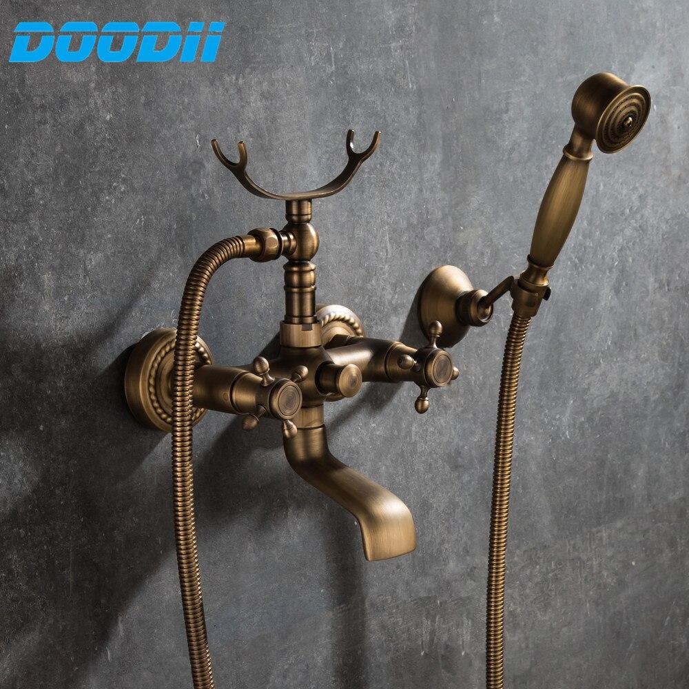 Antyczne szczotkowanego mosiądzu baterie prysznicowe do montażu na ścianie kran do umywalki łazienkowej mieszający wodę żuraw z rąk szef prysznic wanna prysznic kran Doodii