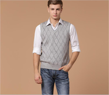 Autumn hot sale v neck mens casual plaid pattern sleeveless wool sweater vest