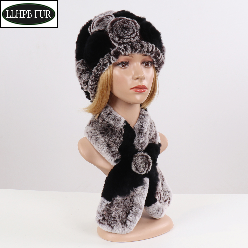 New Flowers Knitted Real Rex Rabbit Fur Hats Scarves Sets Winter Real Fur Scarf Hat Women Good Elastic Natural Fur Muffle Hat