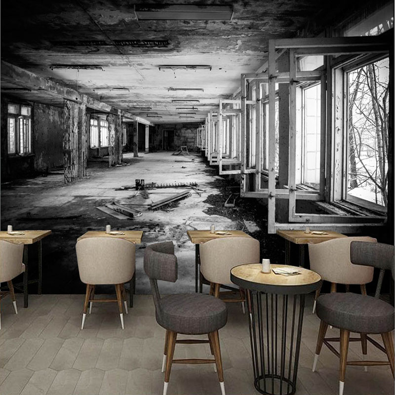 Vintage Wallpaper Modern Personality Factory Black And White Graffiti Mural Wall Paper For Wall 3D Restaurant Cafe Wall Painting