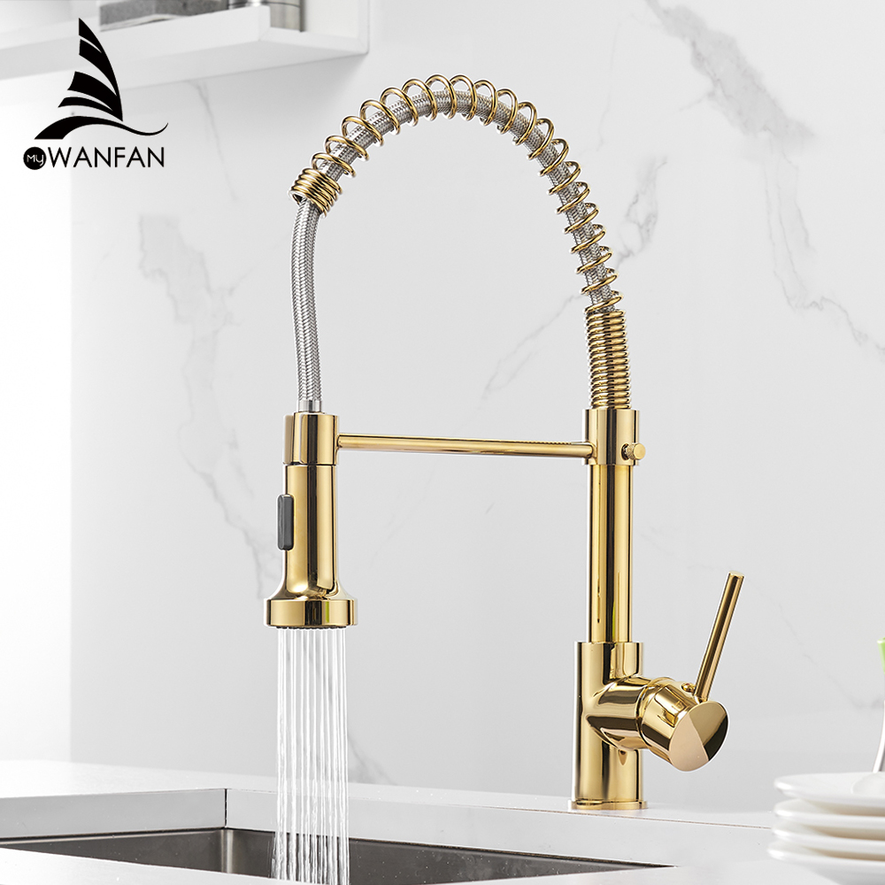 Kitchen Faucets Gold Brass Faucets For Kitchen Sink  Single Lever Pull Out Spring Spout Mixers Tap Hot Cold Water Crane 9009K