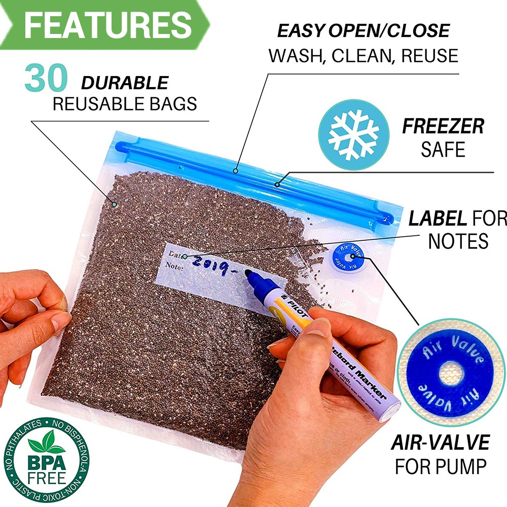 Image 2 - 20Pcs/set Bag Kits Reusable Food Storage Vacuum Seal Bags With Hand Pump Bag Sealing Clips Food Wrap For Food Storage Freezing-in Saran Wrap & Plastic Bags from Home & Garden