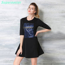 Fashion Black Sequins Work Office Ladies Mini Dress 3/4 Sleeve A-Line Dress 2016 Autumn Winter Wedding Party Club Dresses