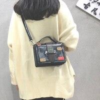 PU Box Cross Body Bags Ladies Hand Bags Red Tote Bags for Women Handbags Shoulder Bag Rock Unisex Solid Zipper