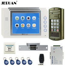 "JERUAN Wired 8"" Video Door Phone Record Intercom System kit 3 Monitor + NEW Waterproof Password HD Mini Camera 8GB TF Card 1V3"