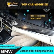 Бесплатная доставка межкомнатных дверей кнопки на панели Dashboard Даш Наборы углерода Волокно для BMW 5 серии F10 углерода интерьера Планки 10 шт./компл.