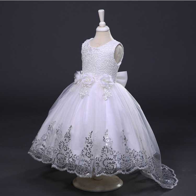 3-10Yrs Girls Wedding Formal Dresses with Floral Sequined Birthday Festival Sleeveless Dress in 5 Colors Baby Girls Clothes Prom yamaha yrs 20bb in c