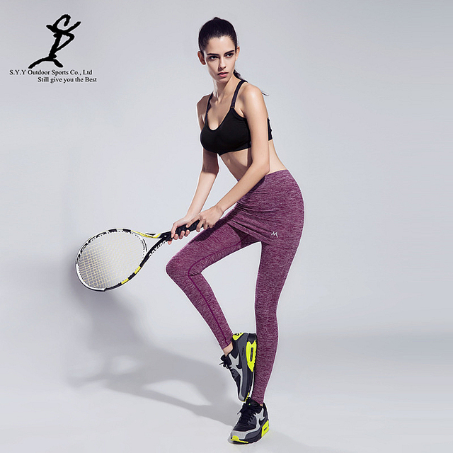 50162a2ddeacb Hot Women Fake Two-Pieces Sports Running Leggings Professional Tennis And Badminton  Tights New Fitness