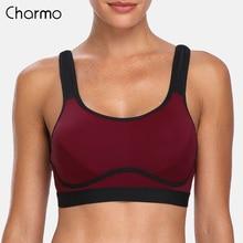 Charmo Women's Hight Impact Sports Bra Padded Support Yoga Bra Breathable Fitness Workout Racerback Sports Top Anti-sweat Bra