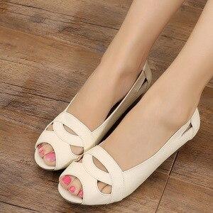 Image 3 - OUKAHUI Echtem Leder Elegante Sandalen Frauen Sommer Schuhe Slip On Sexy Peep Toe Hohl Damen Sandalen Keile 4cm abdeckung Ferse 43
