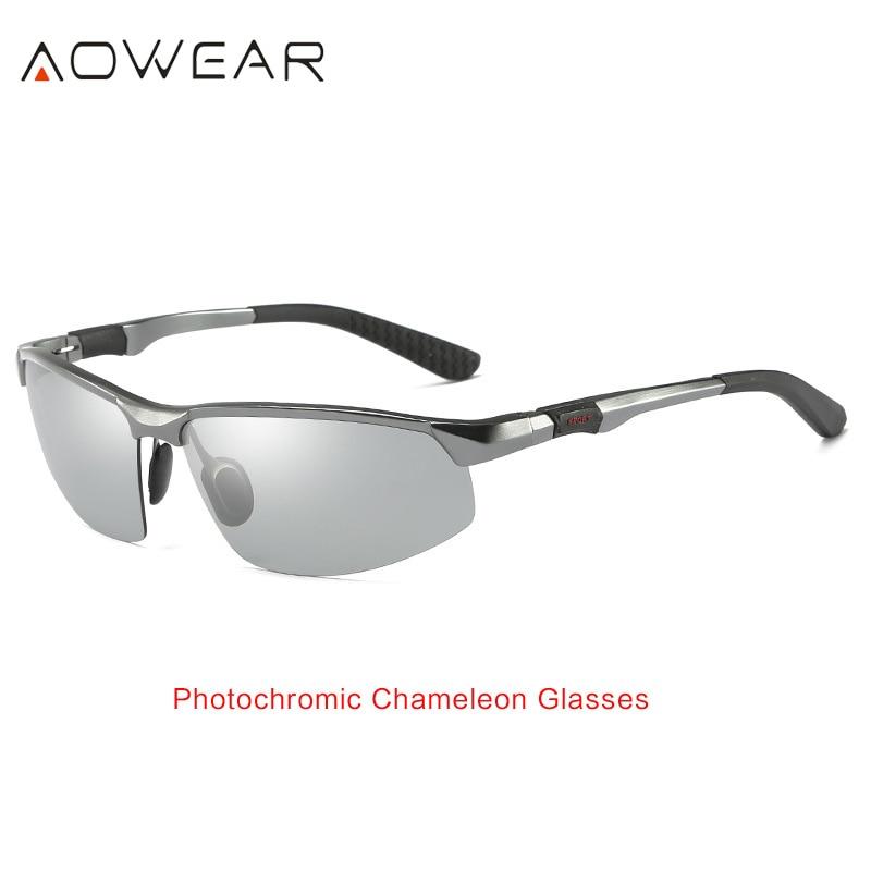 AOWEAR HD мужские фотохромные поляризованные солнцезащитные очки, мужские поляризованные очки-хамелеоны для дневного ночного вождения, антибликовые очки Gafas - Цвет линз: Grey