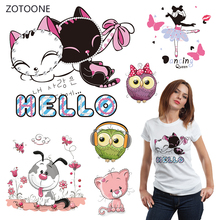 ZOTOONE Pink Cat Iron on Transfer Patches Stripes on Clothing Diy Patch Heat Transfer for Clothes Decoration Stickers Kid Gift G цена