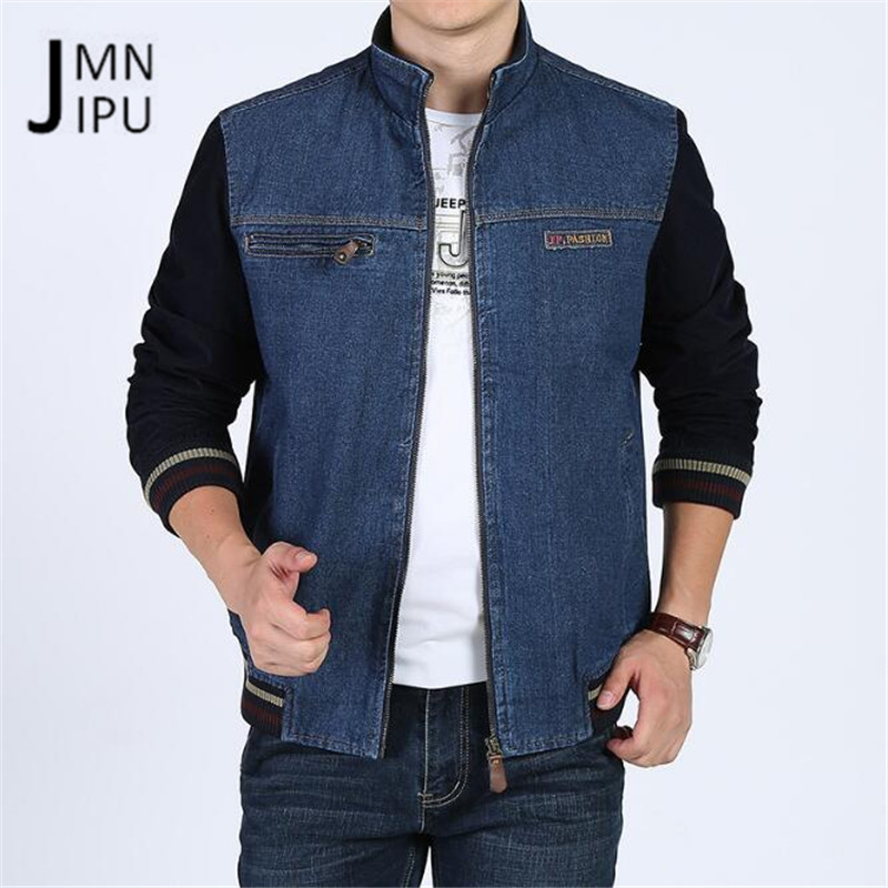 JI PU O-neck Elasticity Waist 2018 Cotton Made Denim Short Jacket,Good Quality Male Cardigan Cow Boy Sky Blue Male Casual jacket
