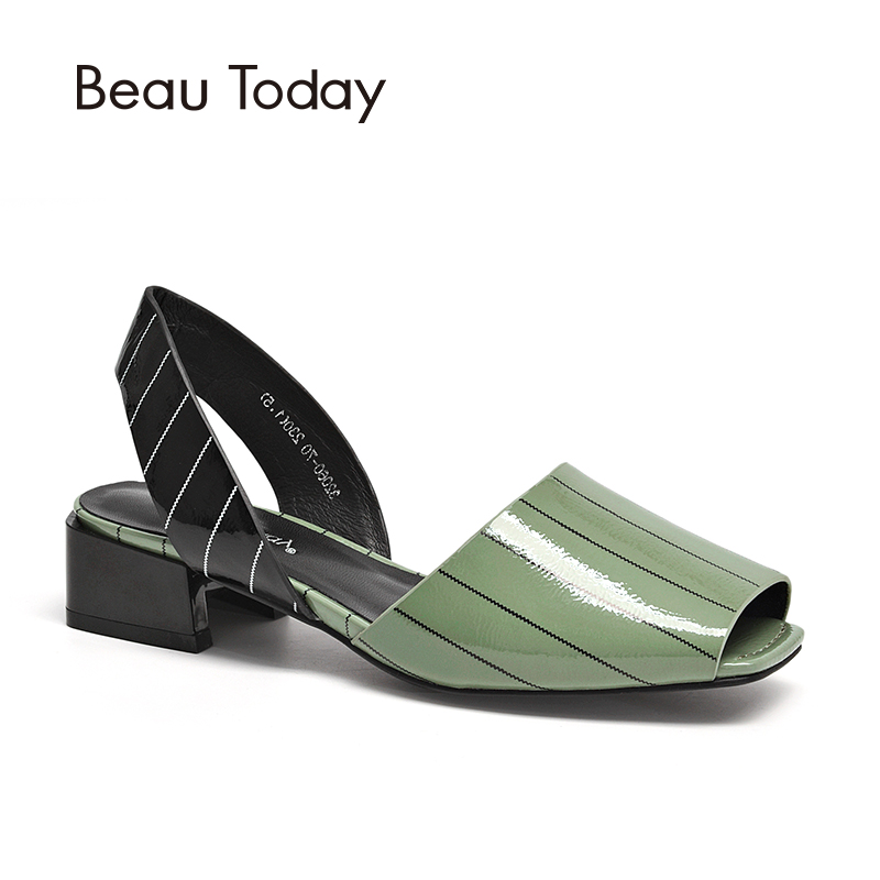 BeauToday Women Sandals Patent Leather Striped Design Peep Toes Top Brand Female Summer Shoes Handmade 32060 striped knot top