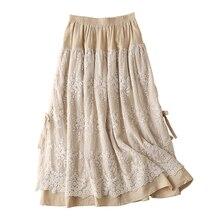 Милая Кружевная Лоскутная юбка в стиле Mori Girl из хлопка и льна с эластичной резинкой на талии, длинная макси Женская уникальная Тюлевая юбка в стиле бохо, женская повседневная юбка