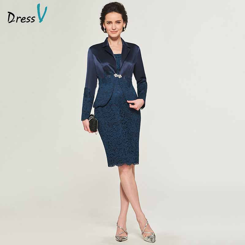 Dressv Elegant Strapless Sheath Long Sleeves Mother Of Bride Dress With Jacket Knee Length Lace Long Mother Evening Gown Custom