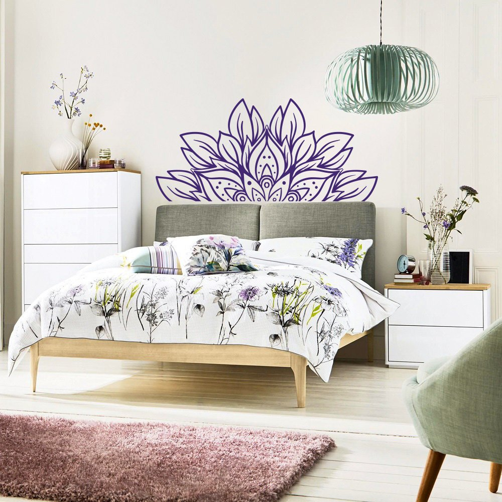 Headboard Wall Decal Flower Half Mandala Vinyl Wall Stickers Removable Master Bedroom Home Decoration Art Mural Wallpaper D534 Pleasant To The Palate Wall Stickers