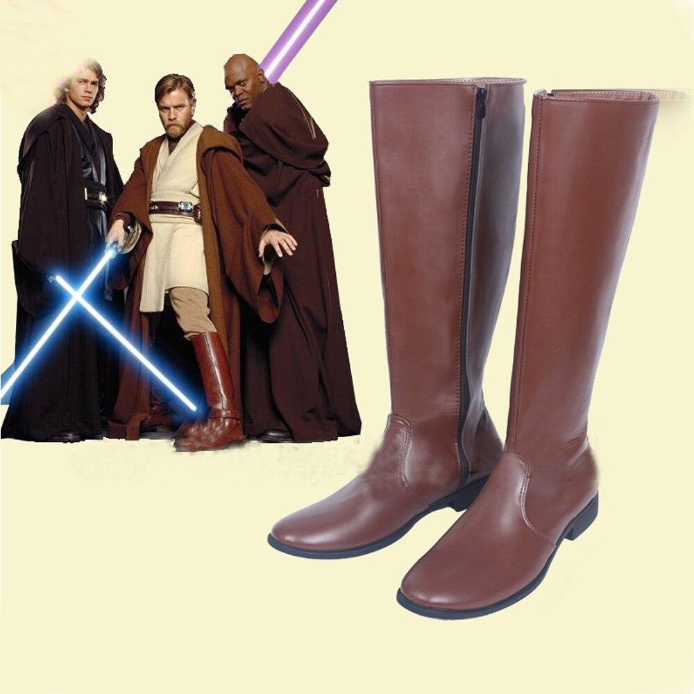 Star Wars Jedi Obi-Wan Kenobi Cosplay Shoes Boots Superhero Halloween Carnival Party Costume Accessories