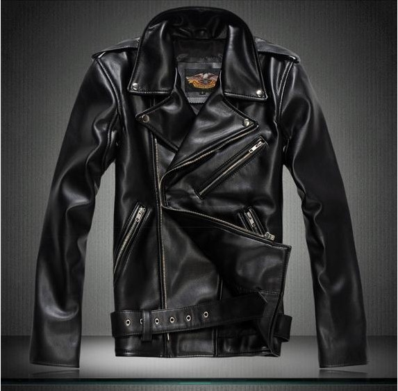 ФОТО 2016 Hot slae Gentlemen Motorcycle Cavalier Jacket Autumn winter Turn-down Collar PU Leather Slim Leather Outerwear Coat