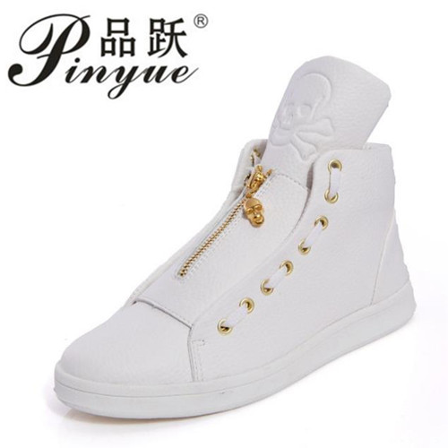 2018 Sales Designer Shoes Men High Quality Hip Hop Shoes Skull Mens Shoes Casual Luxury Brand Famous Leather Tops Black White streetwear pants 2017 men s jeans ripped jeans for men skinny distressed slim famous brand designer biker hip hop swag black