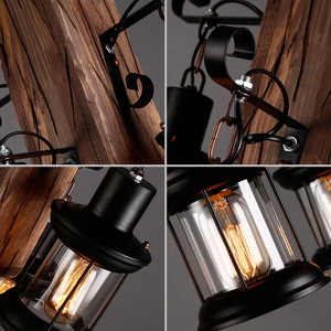 Image 5 - Massief Houten lustre Vintage Kroonluchter Verlichting lustre suspension Koffie Slaapkamer Verlichting Ijzer + Houten Lamp voor loft decor