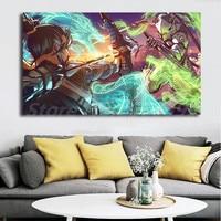 Genji VS Hanzo Overwatchs Дракон арт обои арт Холст Плакат Картина Настенная картина принт украшение для дома спальни без рамки