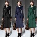 2015 Мусульманская одежда Исламская длинное пальто с отложным воротником манто для женщин шерстяное пальто плюс размер теплый тонкий верхней одежды девушки одежда
