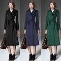 2015 ropa Islámica Musulmán larga da vuelta-abajo abrigo manteau para las mujeres abrigo de lana más el tamaño caliente delgada outwear ropa de las muchachas