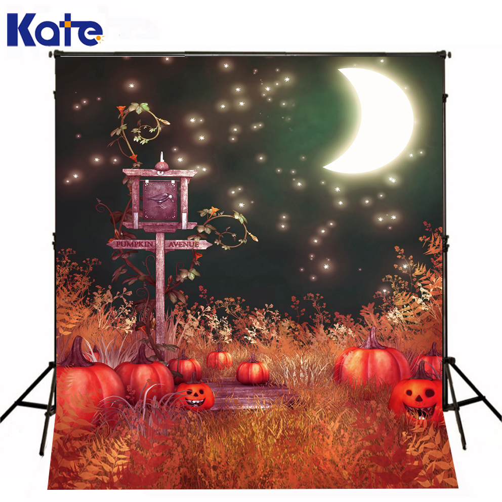 Backdrop Fantasy Sky Bright Moon Halloween Photographic Background Pumpkin  Kate Background Backdrop allenjoy background for photo studio full moon spider black cat pumpkin halloween backdrop newborn original design fantasy props