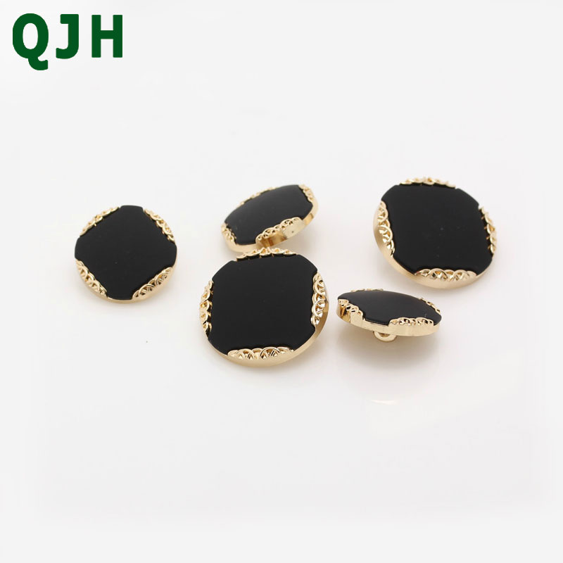 QJH 100pcs Classic Black Gold Color Round Shank Buttons Elegance Metal Button Sewing Buttons For Clothing