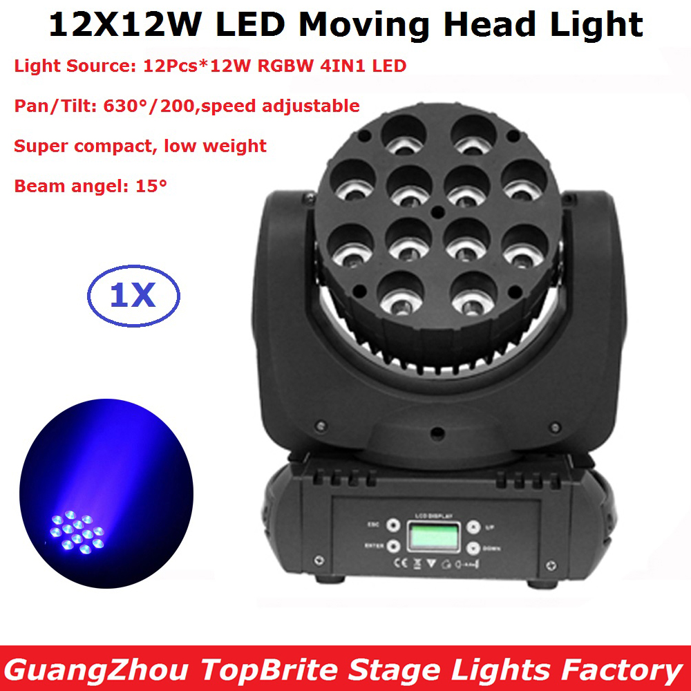 2018 New Arrival 12X12W RGBW Quad Color CREE LEDS LED Moving Head Beam Lights 15 Degree Beam Angle Easy To Operate 100mm glass lenses beam angle 120 degree for cree cxa3590 cxb3590 on led street high bay lamp