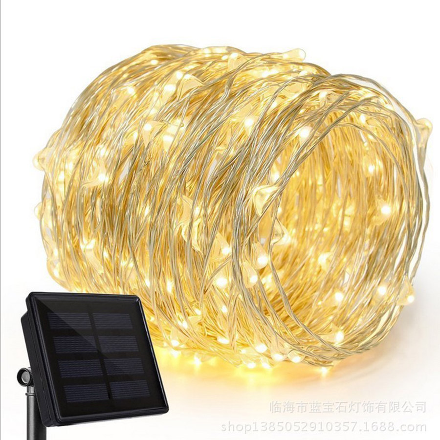 10M 20M Copper Wire Solar LED String LED Solar Lamp Outdoor 100/200 LED Fairy Lights Solar Powerful Outdoor Solar Lamps HG-20