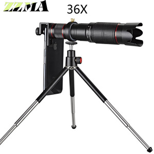 Image 1 - Universal 4K 36x Zoom Mobile Phone Telescope Lens Telephoto External Smartphone Camera Lens For IPhone Sumsung huawei all phone