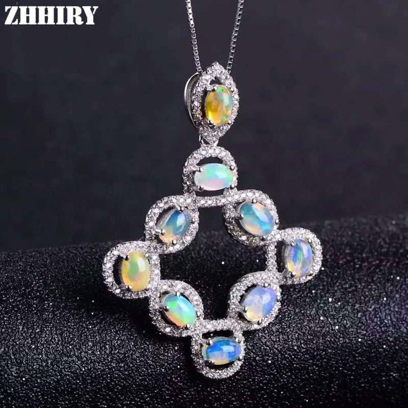 ZHHIRY Genuine Natural Color Opal 925 Sterling Silver Necklace Pendants For Women Real Gemstone Fine Jewelry vintage faux opal floral necklace jewelry for women