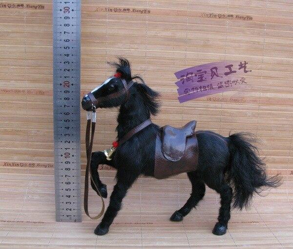 Simulation noire lever la jambe cheval modèle jouet résine et fourrure cheval avec selle poupée cadeau environ 23x7x23 cm 1130