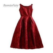 BunniesFairy 2020 Spring New Royal Vintage Audrey Hepburn Style Jacquard Floral Print Robe High Waist Women Vest Dress Plus Size