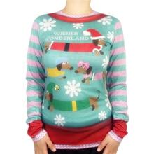 Kawaii Wiener Wonderland Printed Ugly Christmas T Shirt for Women Cute Dachshund Dog Shirts Funny Xmas Tee Plus Size