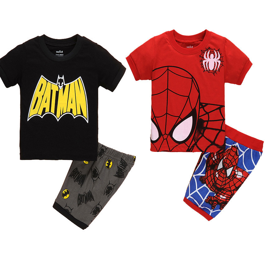 Cosplaydiy superhero kids cartoon t shirt pajamas boys homewear batman spiderman homecoming pajamas spider man shirt pants j20-0