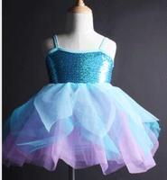 Açık mavi caz dokunun çocuklar çocuk prenses Bale Dans Tutu Kız Bale Dans Elbise bale leotard