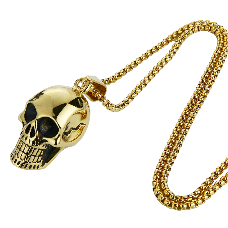 EdgLifU New Skull Pendentif Collier Biker Moto Enthusiast Noir Punk - Bijoux fantaisie - Photo 4