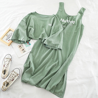 Vintage Loose 2 Piece Set Women Solid Back Hollow Out T Shirt + Tank Long Dress Sets Summer Casual Streetwear Two Piece Outfits