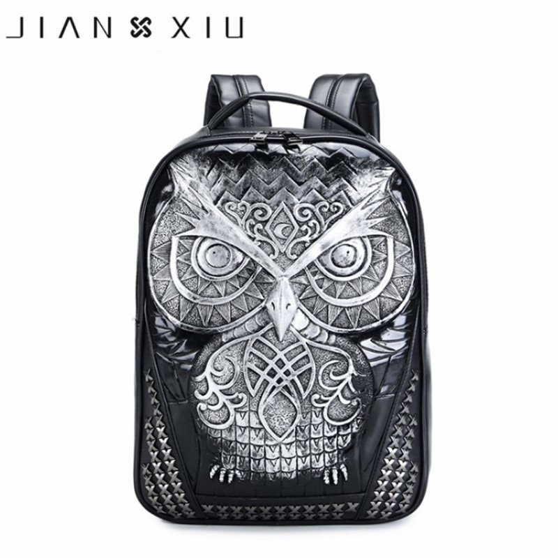 Hip Hop Backpakcs For Men Women 3D Animal Owl Silica Gel Rivet Leather Shoulder School Bags High Quality Luxury Famous Brand