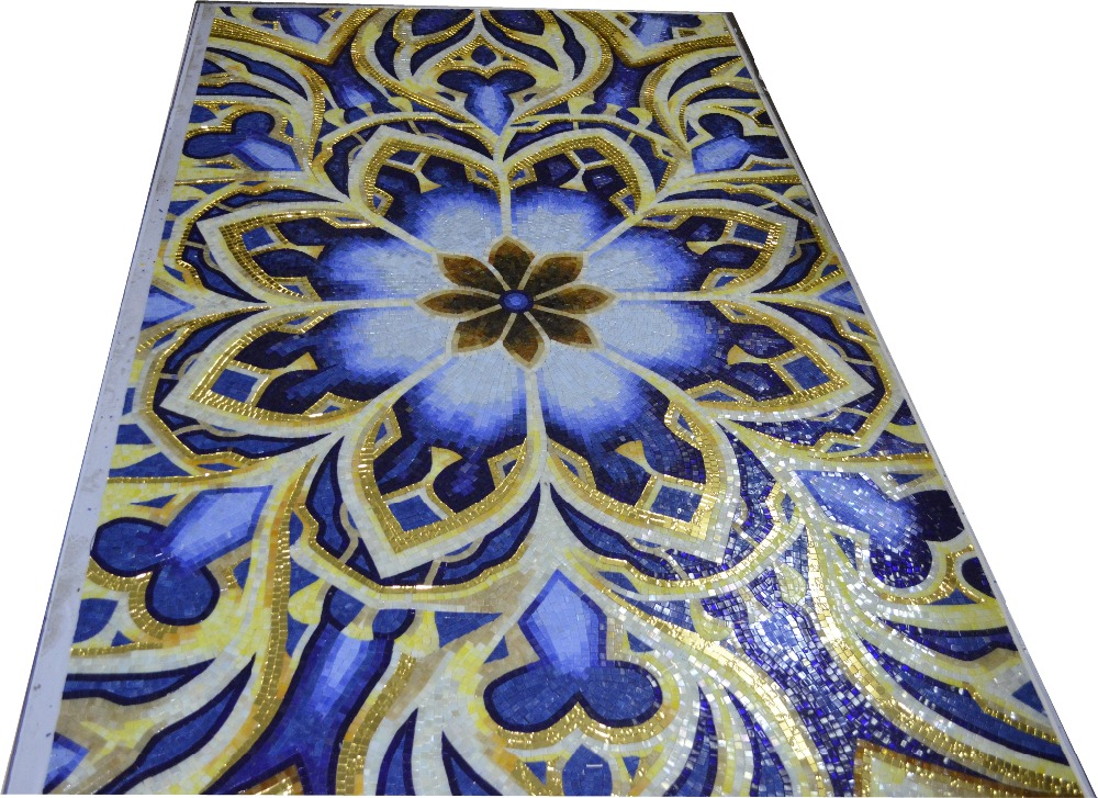 Custom made medallion glimmer glass mosaic tiles mural for for Custom mosaic tile mural
