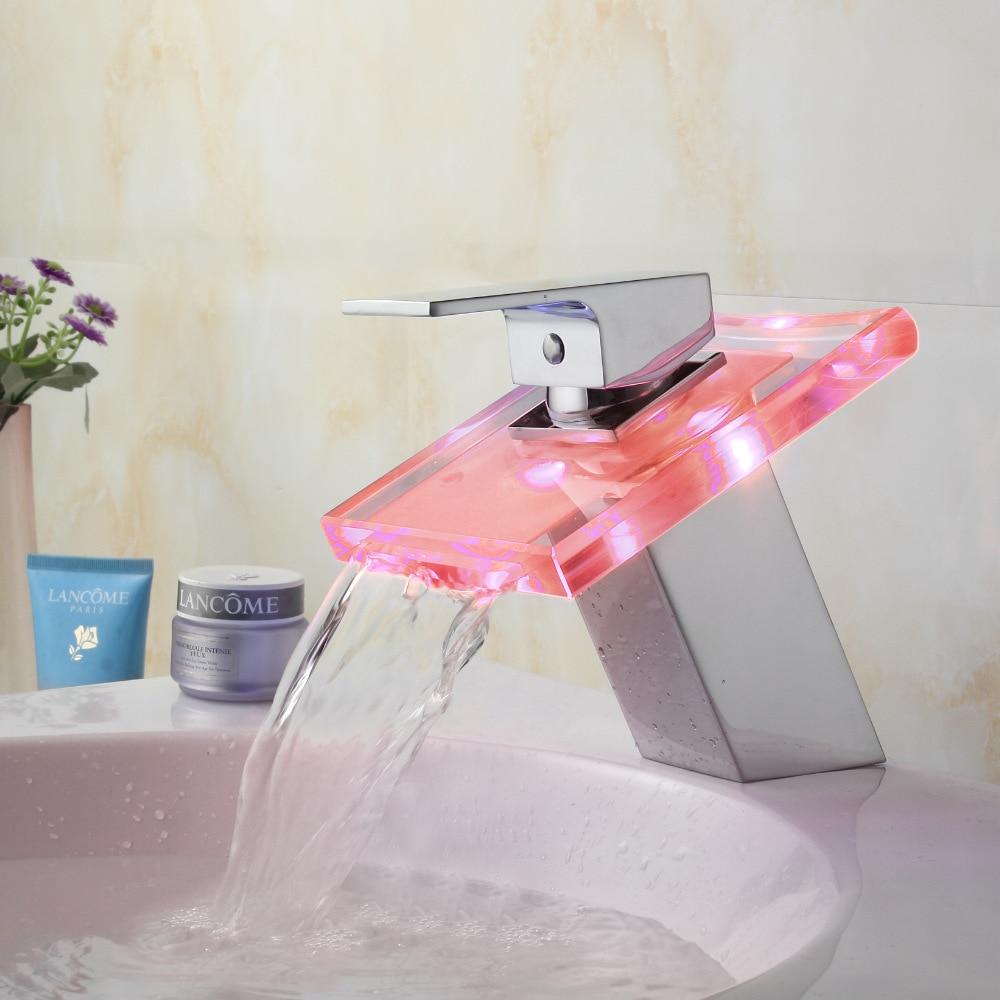 Робине Медь LED смешанный холодной и горячей Температура воды Управление Стекло производители бассейна кран продажи одно отверстие водопад